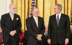 President George W. Bush stands with Presidential Medal of Freedom recipients, Vinton G. Cerf and Robert E. Kahn, Wednesday, Nov. 9, 2005, during ceremonies at the White House.  photo by Paul Morse (public domain)
